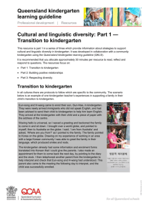 Cultural and linguistic diversity: Part 1 — Transition to kindergarten