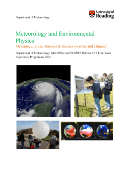 Department of Meteorology Meteorology and Environmental Physics