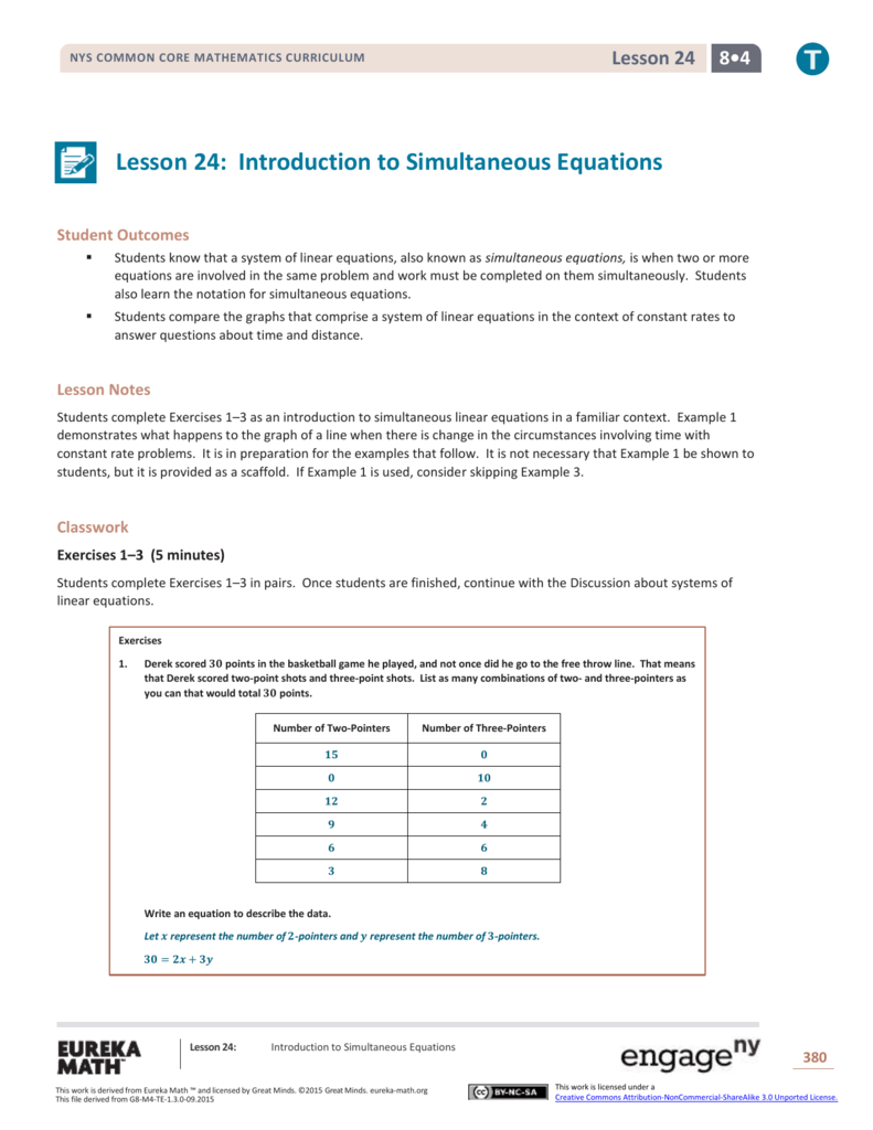 Lesson 24: Introduction to Simultaneous Equations