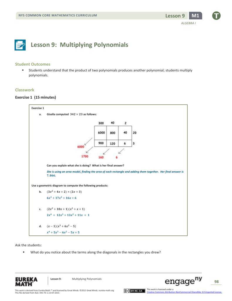 Algebra I Module 1, Topic B, Lesson 9: Teacher Version