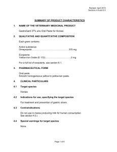 Revised: April 2015 Sections 4.9 and 6.5 SUMMARY OF PRODUCT