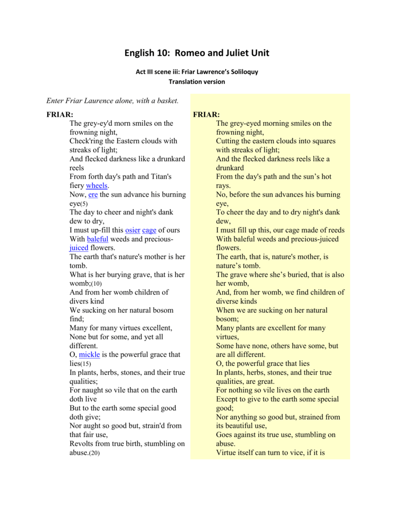 Translation Of Friar S Soliloquy Act2 Scene3 Lawrence Summary