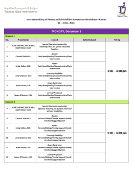 Workshops Schedule - Francis Young International