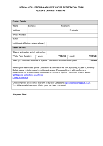 Visitor Registration Form - Queen`s University Belfast