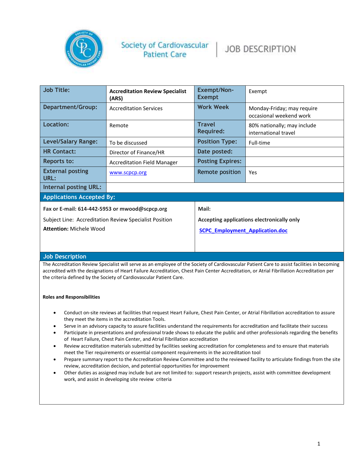 Job Title: Accreditation Review Specialist (ARS) Exempt/Non