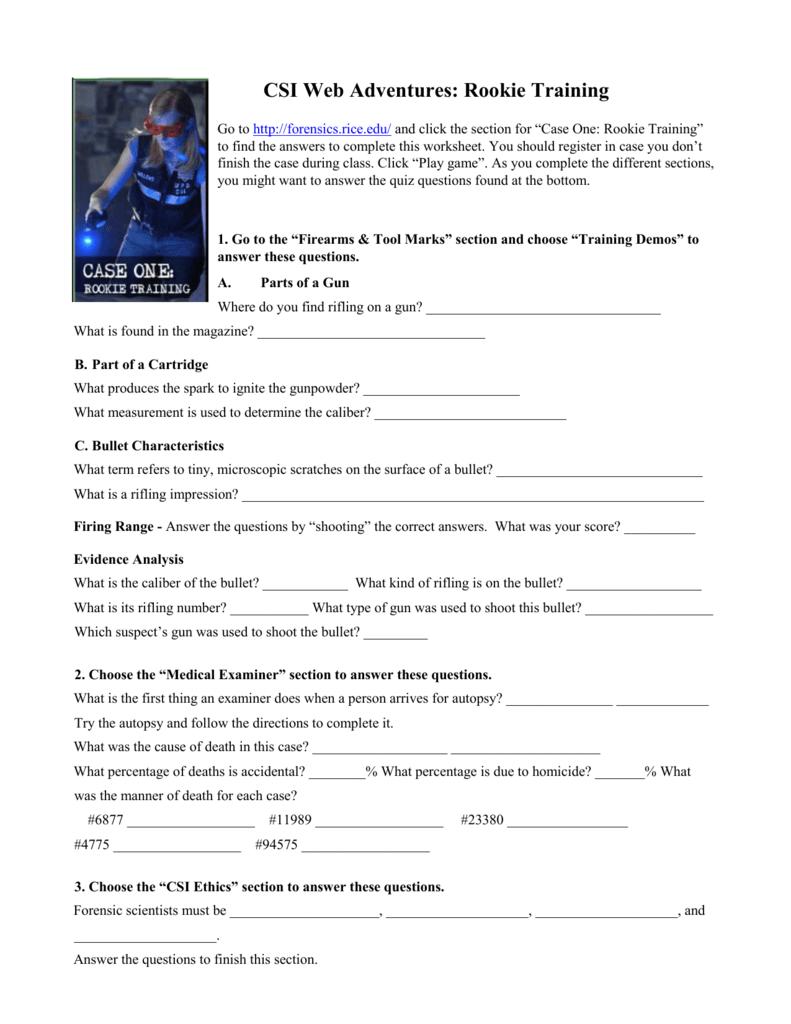 CSI Web Adventures Rookie Training – Csi Web Adventures Case 1 Worksheet Answers