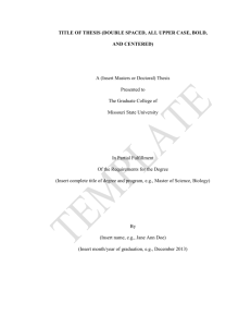 New Mandatory Thesis Template Pages