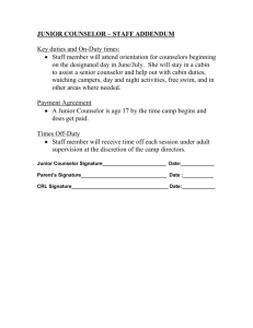 JUNIOR COUNSELOR Addendum - CAMP RIVA-LAKE