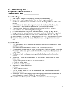 6 th Grade History Test 7 Chapters 1-8
