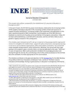 Concept Note: Journal on Education in Emergencies