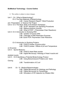Course Outline for BioMedical Technology