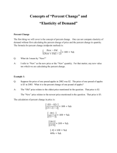 Notes on how to calculate Percent Change and Elasticity