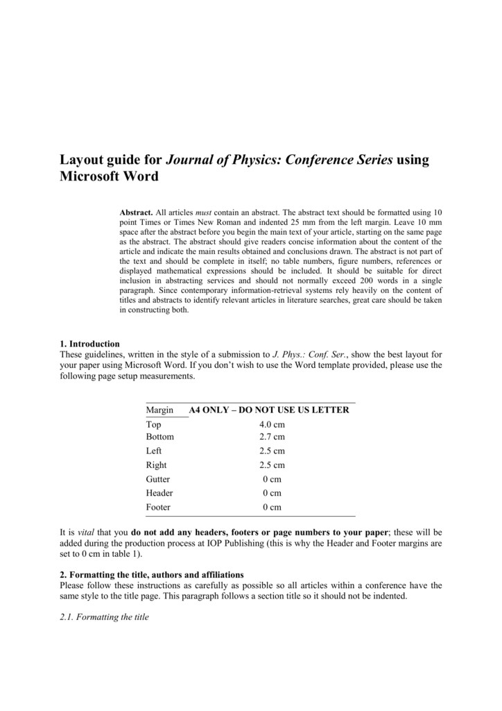 Open Access Proceedings Journal Of Physics Conference Series