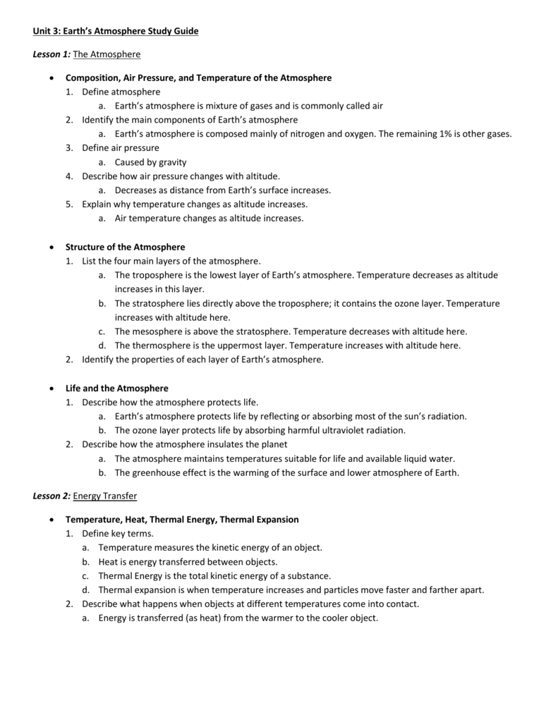unit 3 earth s atmosphere study guide lesson 1 the atmosphere rh studylib net earth's atmosphere study guide answers earth's atmosphere study guide answer key