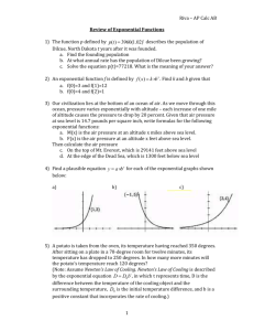 Riva – AP Calc AB Review of Exponential Functions The function p