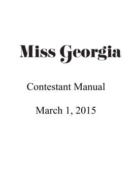 2015 Contestant Manual - Miss Georgia Scholarship Pageant