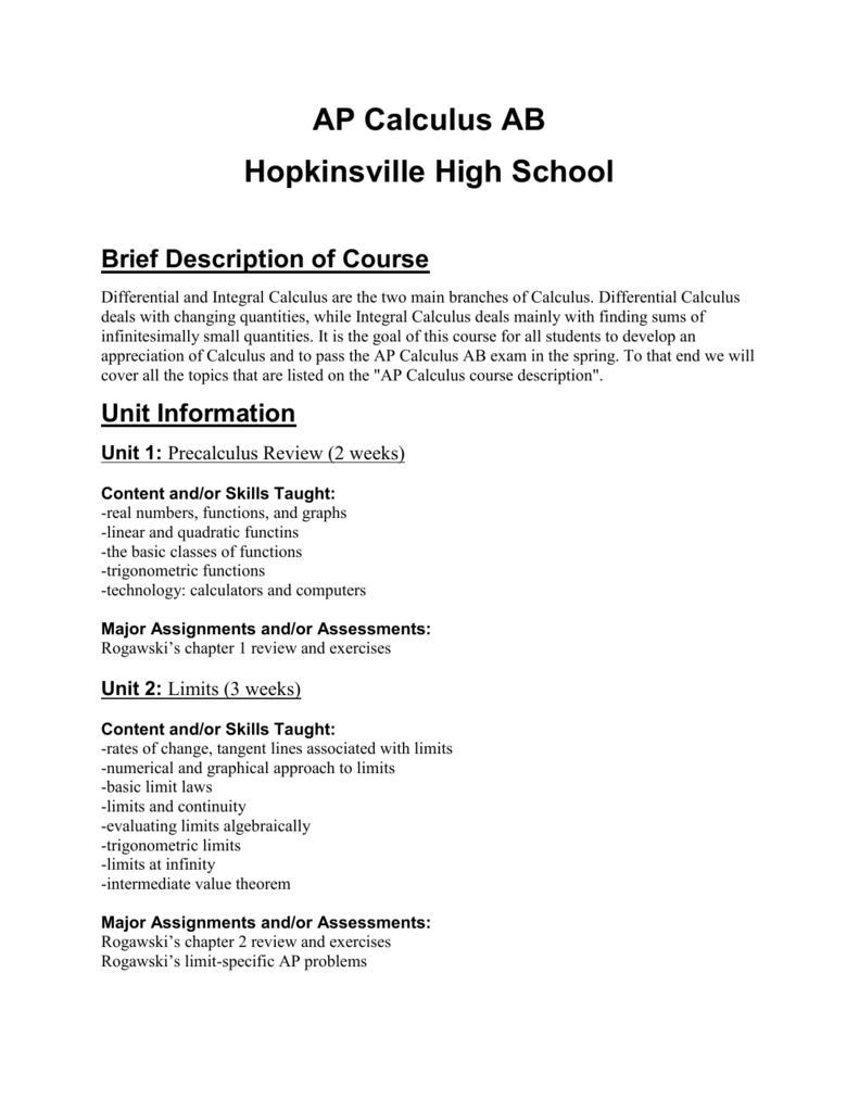 AP Calculus AB Hopkinsville High School Brief Description