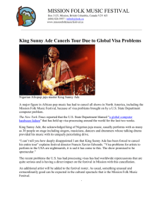 King Sunny Ade Cancels Tour Due to Global Visa Problems