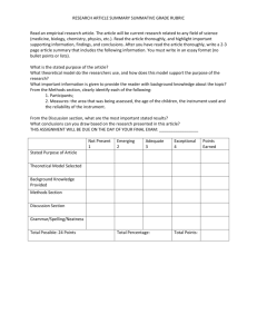 RESEARCH ARTICLE SUMMARY SUMMATIVE GRADE RUBRIC