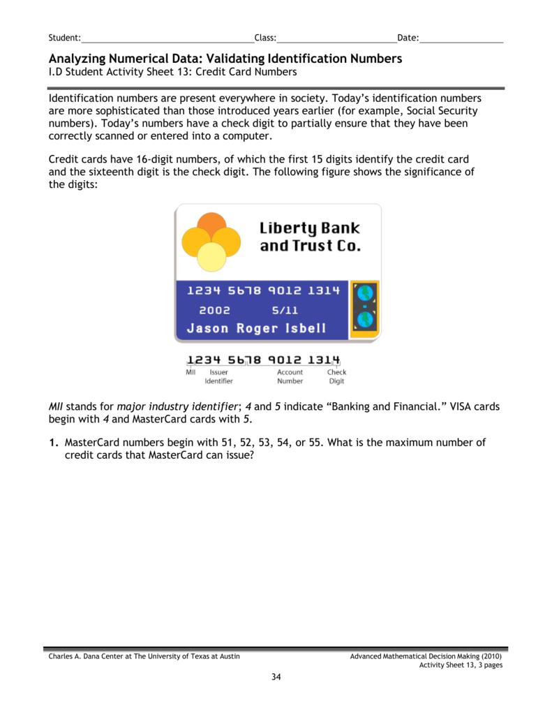 credit card sheet