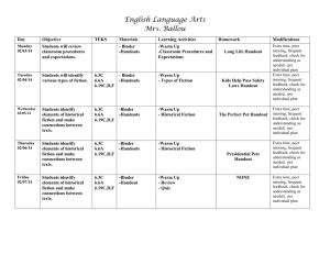 English Language Arts Day Objective TEKS Materials Learning