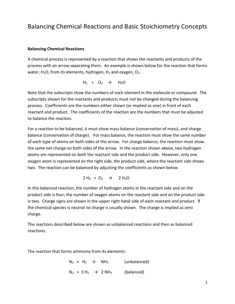 Balancing Chemical Reactions and Basic Stoichiometry – Basic Stoichiometry Worksheet