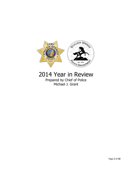 2014 Year in Review Prepared by Chief of Police Michael J. Grant
