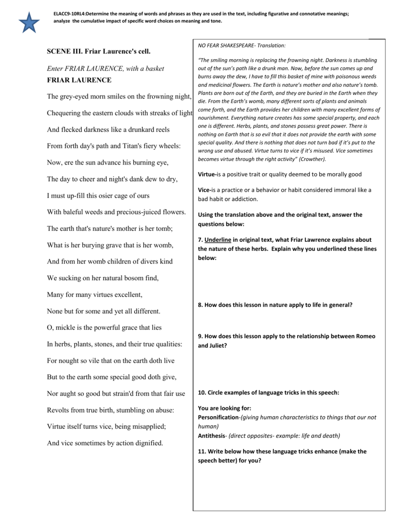 Scene Iii Friar Lawrence Diff Page 2 Soliloquy Summary