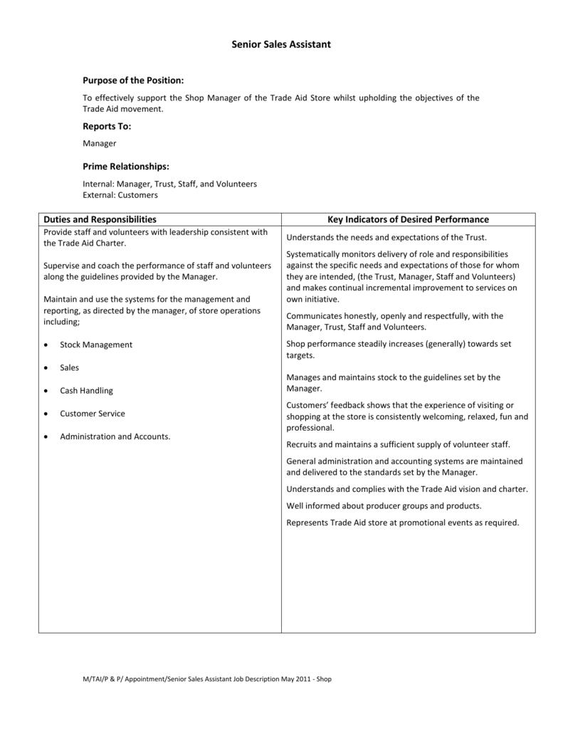 store assistant job description