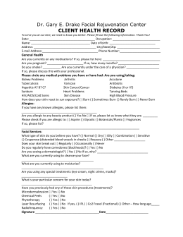 General Client Health Record - the Facial Rejuvenation Center