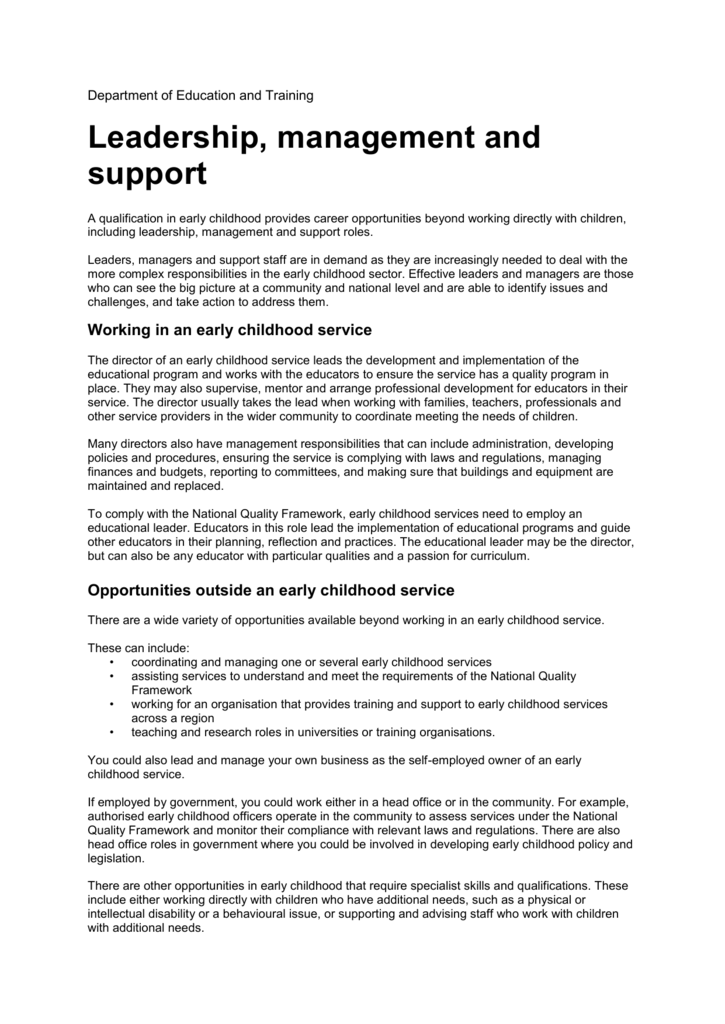 Leadership Management And Support Roles In Early Childhood Are