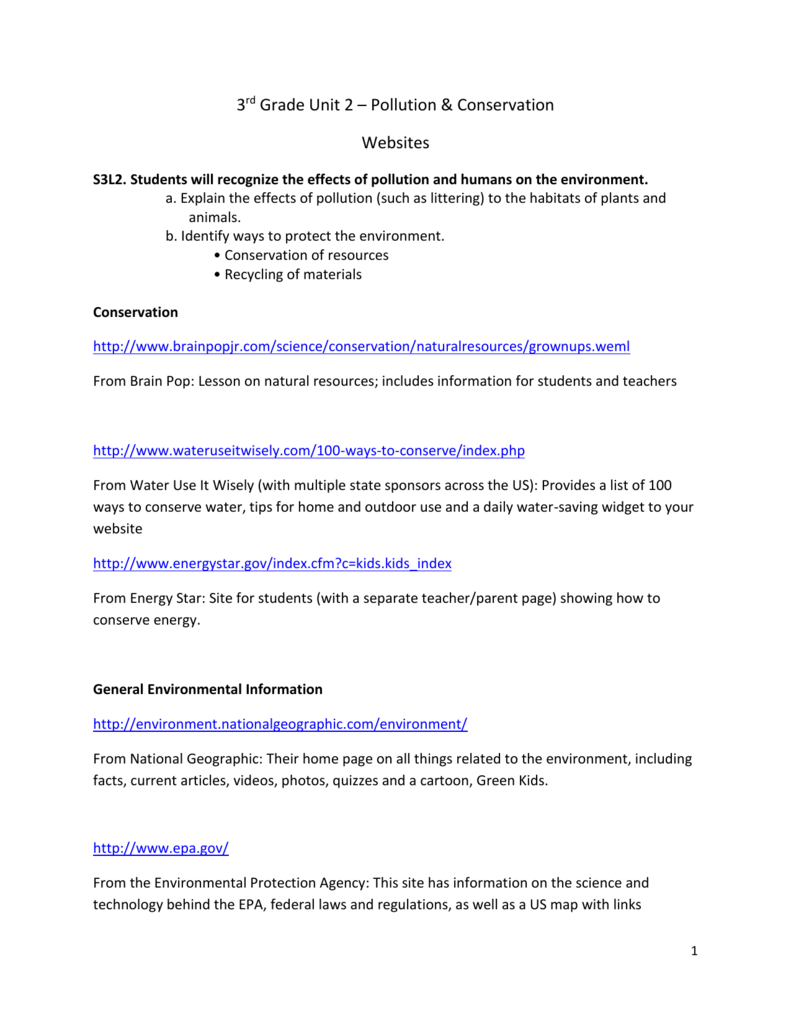 worksheet Natural Resources Worksheets 3rd Grade 3rd grade unit 2 pollution and conservation
