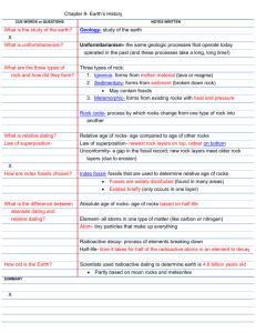 Chapter 8- Earth`s History CUE WORDS or QUESTIONS NOTES