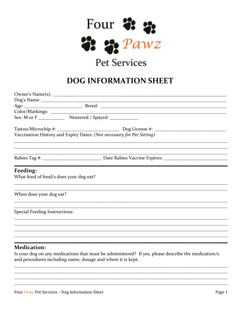 dog information sheet four pawz pet services