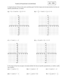 U6 – W4 Parallel and Perpendicular Lines Worksheet 1. Graph each