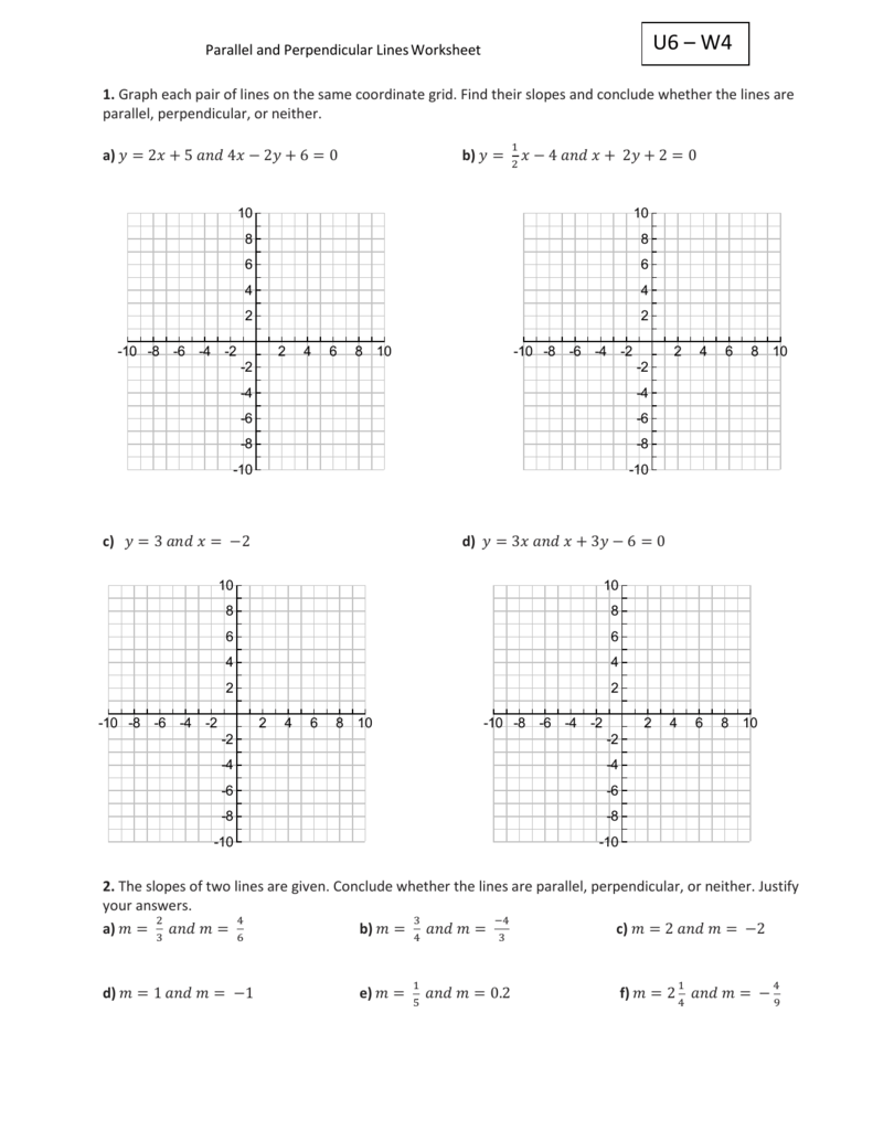 Worksheets Find The Slope Of Each Line Worksheet u6 w4 parallel and perpendicular lines worksheet 1 graph each