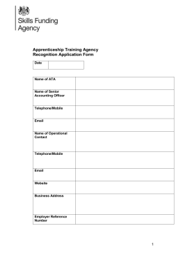Apprenticeship Training Agency: recognition application form