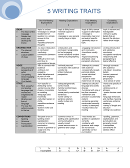 6 1 traits of writing rubric The author of this paper wrote using conventions which enhance readability there are only a 1-2 errors in this paper, but they do not detract from the meaning of the paper level 6 the author wrote a paper which reflects a good grasp of standard writing conventions.