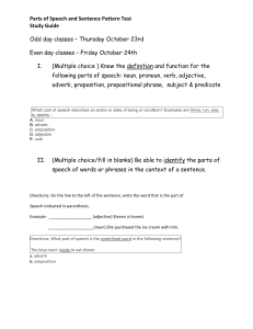 Parts of Speech and Sentence Pattern Test Study Guide