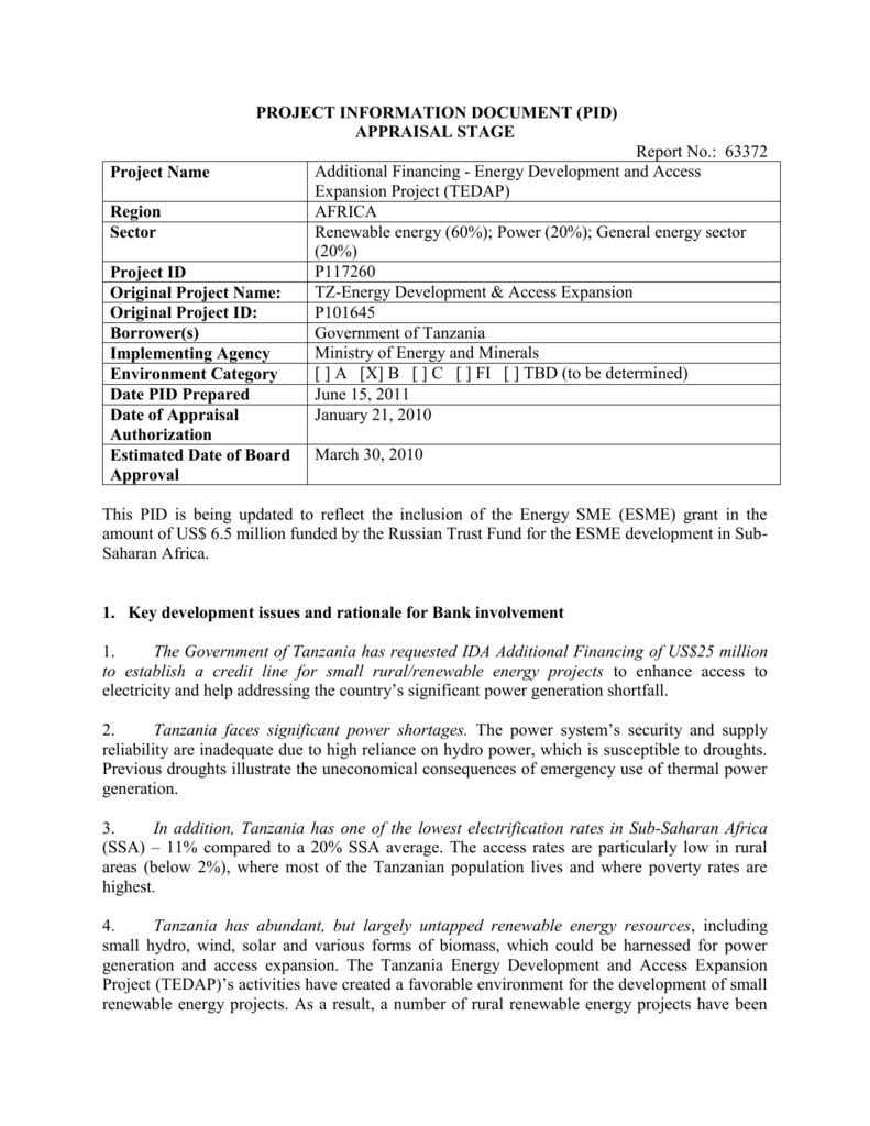 PROJECT INFORMATION DOCUMENT (PID)