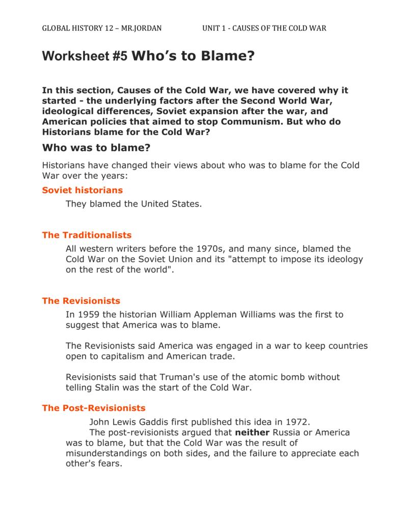 Worksheets Origins Of The Cold War Worksheet worksheet 5 whos to blame