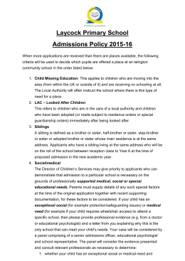 Admissions Policy - Laycock Primary School