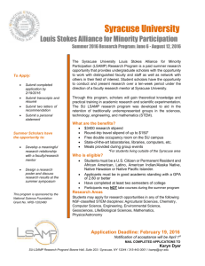 Syracuse University Louis Stokes Alliance for Minority Participation