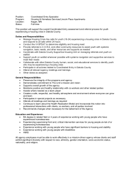 Position: Coordinated Entry Specialist Program: Housing