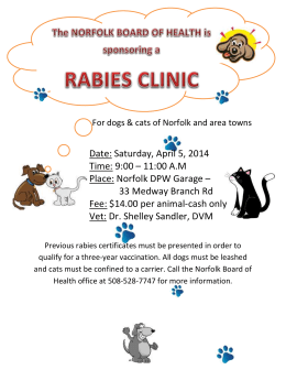 The NORFOLK BOARD OF HEALTH is sponsoring a RABIES CLINIC