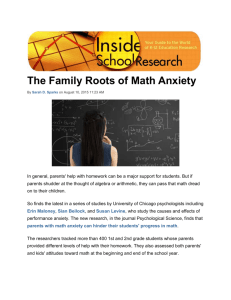 Parents - Math Anxiety