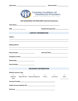 Pre-Enrollment (Bedside) - Camden Coalition of Healthcare Providers
