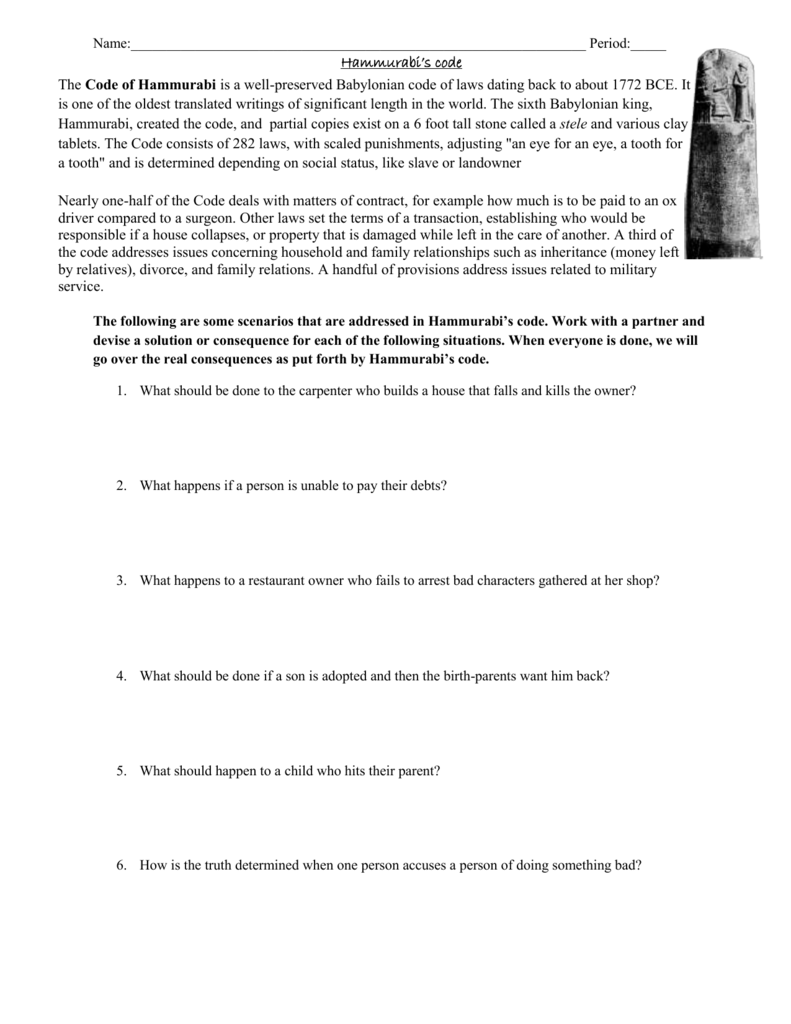 Good Thesis Statement Examples For Essays  High School Persuasive Essay also Essays On Different Topics In English Name Period Hammurabis Code The Code Of Hammurabi Is Business Law Essays