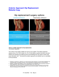 Anterior Approach Hip Replacement Website Copy