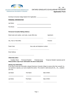 Application Form - Dominican University College